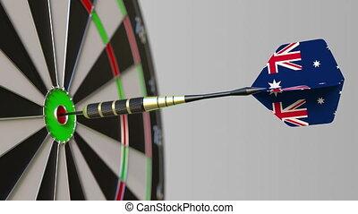 Dart featuring flag of Australia hits bullseye of the...