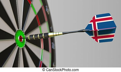 Dart featuring flag of Iceland hits bullseye of the target....