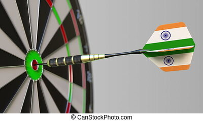 Dart featuring flag of India hits bullseye of the target....