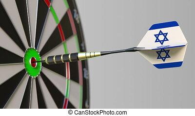 Dart featuring flag of Israel hits bullseye of the target....