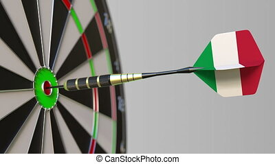 Dart featuring flag of Italy hits bullseye of the target....