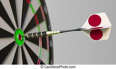 Dart featuring flag of Japan hits bullseye of the target....