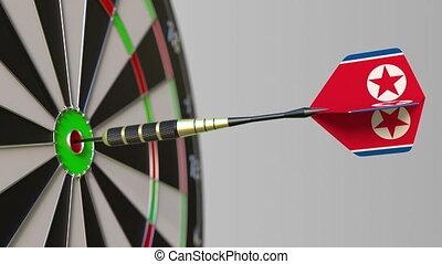 Dart featuring flag of North Korea hits bullseye of the...