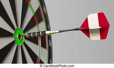 Dart featuring flag of Peru hits bullseye of the target....
