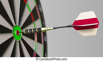 Dart featuring flag of Poland hits bullseye of the target....