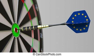 Dart featuring flag of the European Union EU hits bullseye...