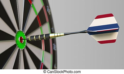 Dart featuring flag of the Netherlands hits bullseye of the...