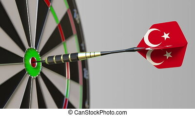 Dart featuring flag of Turkey hits bullseye of the target....
