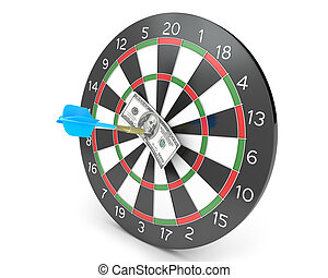 Dart hit hunderd dollars on a board, isolated on white...