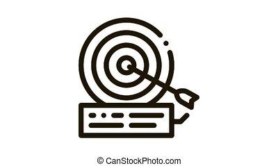 dart hit target Icon Animation. black dart hit target animated icon on white background