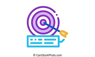 dart hit target Icon Animation. color dart hit target animated icon on white background