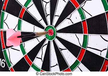Dart hit the target on dartboard