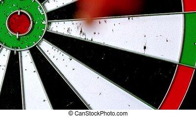 Dart hitting a bulls eye