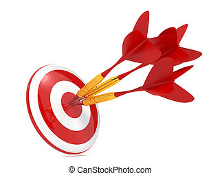 Dart Hitting a Target, Isolated On White.