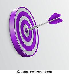 Dart hitting a target. Success concept.
