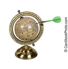 Dart in an Old world globe