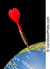 Dart in bllue globe