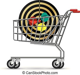 Dart in the shopping cart, isolated on white background.