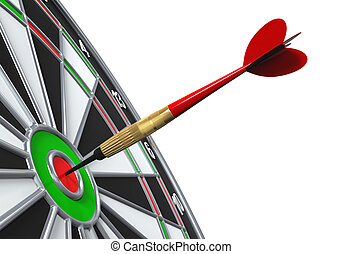 Dart on Target Close-up isolated on white background. 3D...