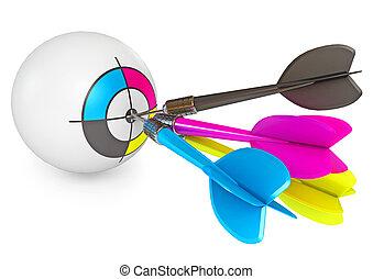 Dart on target. CMYK Print concept design. 3d render