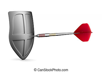 Dart on white background. Isolated 3D illustration