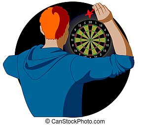 dart player, male, aiming dart at dart board, view from...