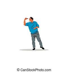 Dart player sign. Vector Illustration. - Branding Identity...