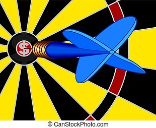 dart striking dollar sign on bullseye - close-up of blue...