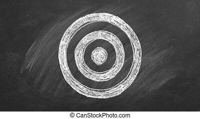 The Target drawn in chalk on a blackboard.