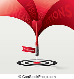 Dart Target Success Business Concept - Dart Target Business...