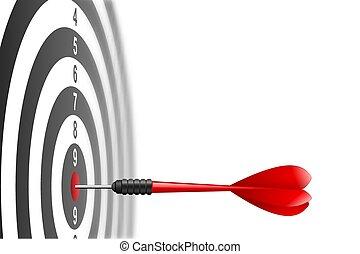 dartboard., 比喩, ターゲット, 成功, concept., 勝者, 隔離された, さっと動きなさい, ヒッティング, バックグラウンド。, ベクトル, 矢, 白い赤, 中心