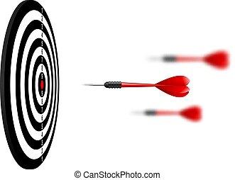 dartboard., 比喩, ターゲット, 成功, concept., 飛行, 矢, 隔離された, さっと動きなさい, バックグラウンド。, ベクトル, 勝者, 白い赤