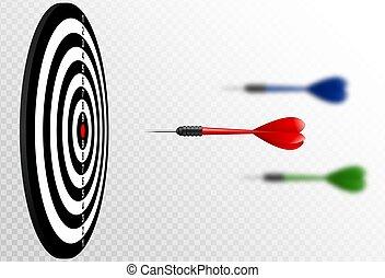 dartboard., 比喩, ターゲット, 成功, concept., 飛行, 矢, 隔離された, さっと動きなさい, バックグラウンド。, ベクトル, 勝者, 白, 透明, 赤