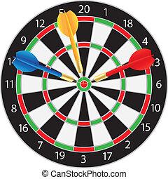 dartboard, abbildung, dartpfeile