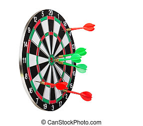 Dartboard and Darts - Dart board with the winner and the...
