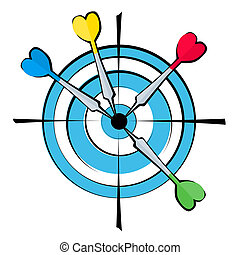 Dartboard and darts - A vector image dartboard with four...