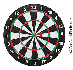 Dartboard bull?s eye. Isolated on white background