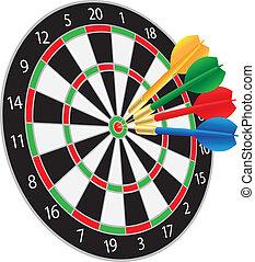 dartboard, com, dardos, bater, a, bullseye