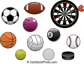Dartboard, hockey puck and sports balls