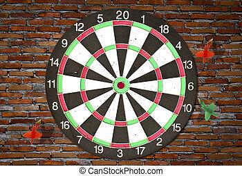 dartboard, ligado, parede tijolo, (darts, golpe, target)