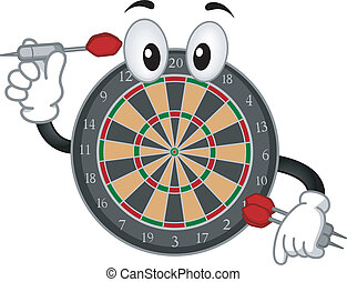 Dartboard Mascot - Mascot Illustration of a Dartboard...