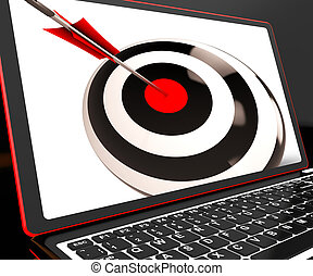 Dartboard On Laptop Shows Effectiveness