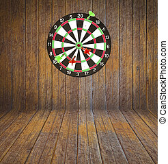 Dartboard on room wood