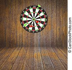 Dartboard on room wood