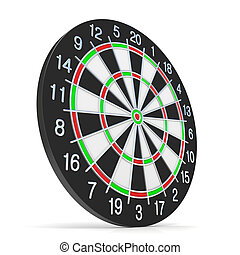 Dartboard. Side view. 3D render illustration isolated on ...
