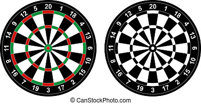 Dartboard - Vector illustration of color and black and white...