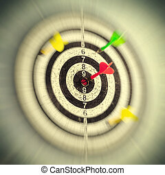 dartboard with arrow in the center