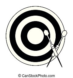 Dartboard with bow arrows in black and white