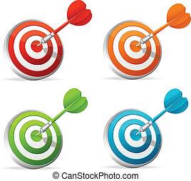 Dartboard with dart. Colorful set.