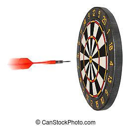 dartboard with dart flying in aim isolated on white